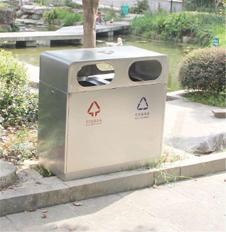 户外不锈钢垃圾桶带烟灰缸实物图
