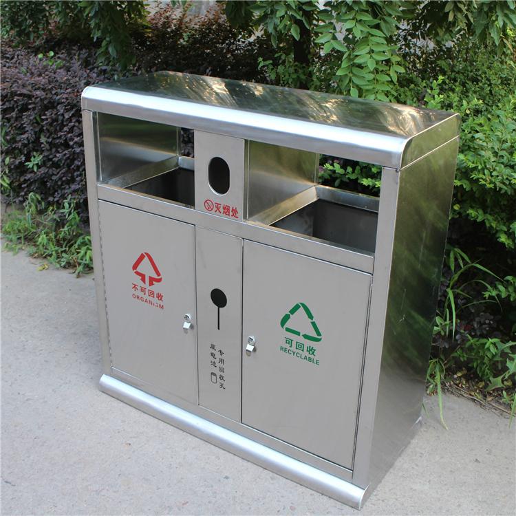 新款不锈钢户外垃圾桶图片