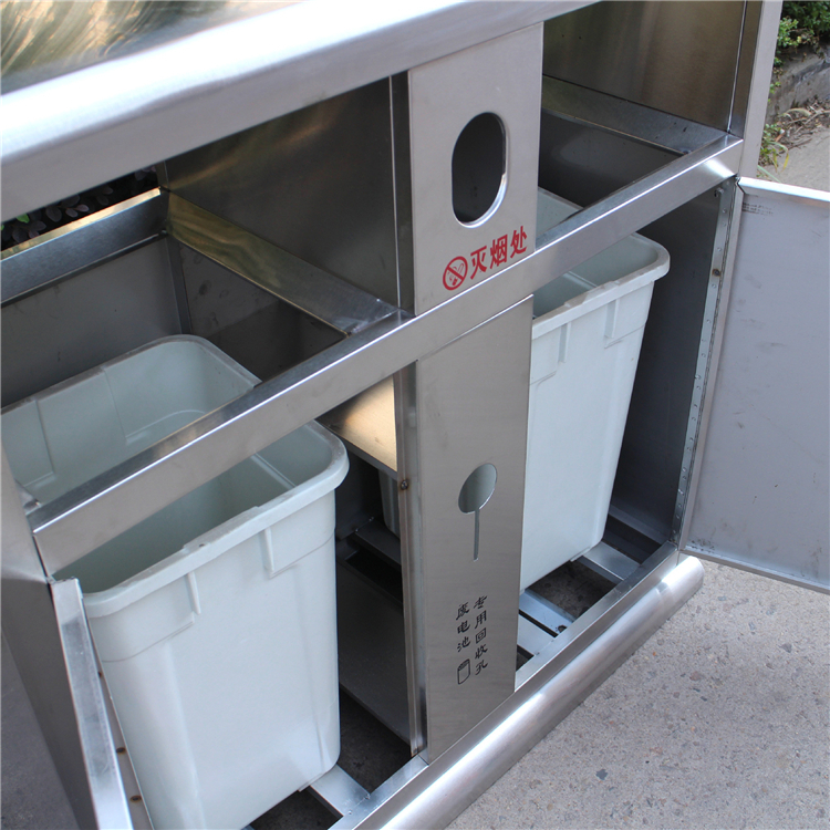 新款不锈钢户外垃圾桶内部结构