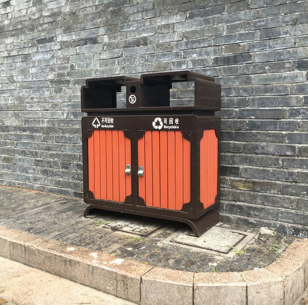 户外塑木垃圾桶