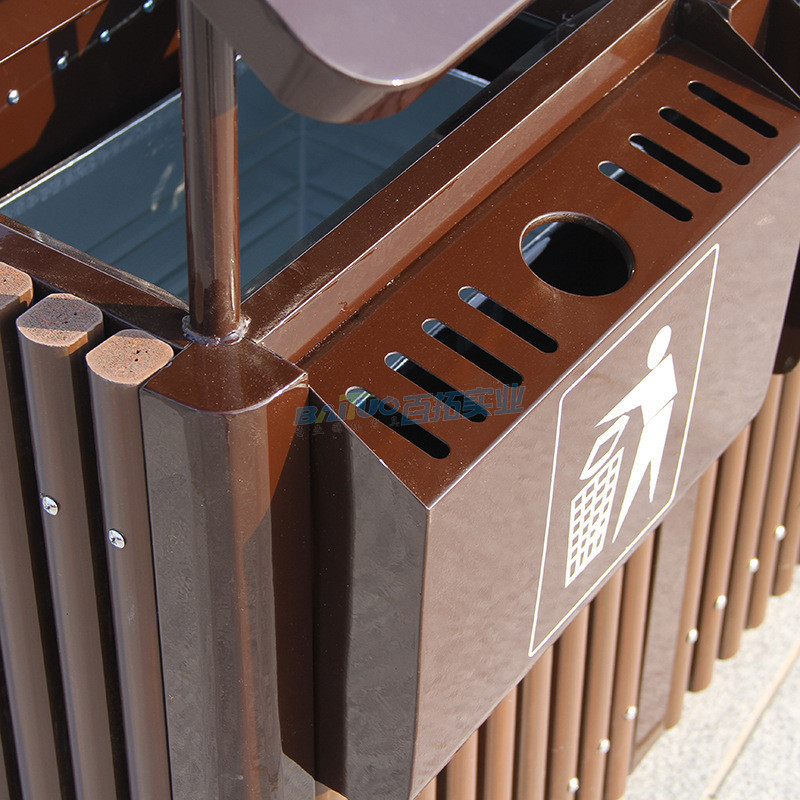 户外分类钢木垃圾桶细节图